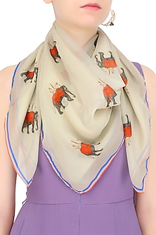 Beige and Red Elephant Print Scarf by RASEEL AT CASAPOP