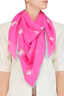 Pink and White Cow Print Scarf by RASEEL AT CASAPOP