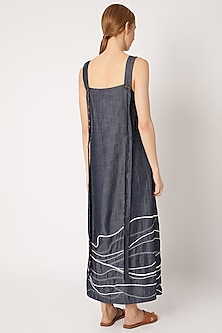 Denim Blue Embroidered Dress by Chambray & Co.