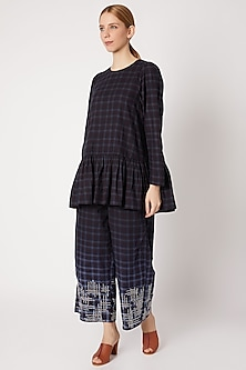 Navy Blue Checkered Top With Embroidered Pants by Chambray & Co.