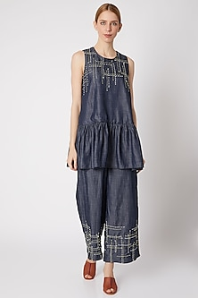 Denim Blue Embroidered Top With Pants by Chambray & Co.