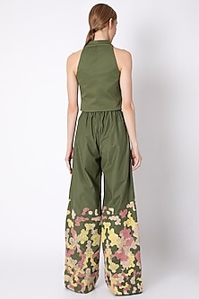 Forest Green Waistcoat Top With Embroidered Pants  by Chambray & Co.