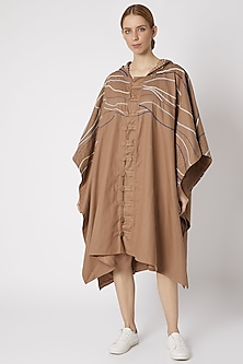 Tan Brown Embroidered Choga Jacket by Chambray & Co.