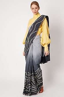 Navy Blue To White Ombre Embroidered Saree by Chambray & Co.
