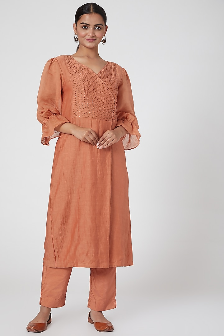 Orange Embroidered Kurta With Pants by Chambray & Co.