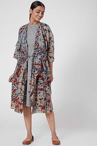 Grey Printed Tie-Up Dress With Slip by Chambray & Co.