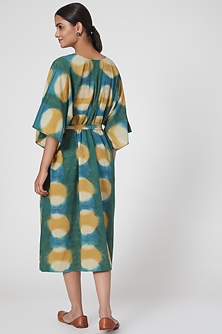 Turquoise Printed Tie-Up Dress With Belt by Chambray & Co.