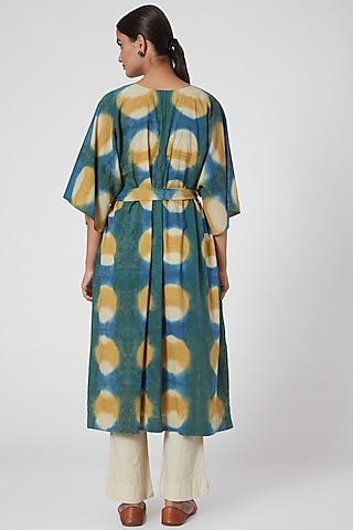 Turquoise Green Printed Tunic With Pants & Belt by Chambray & Co.
