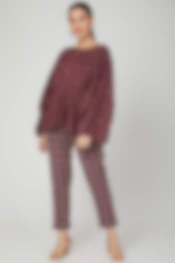 Wine Statement Sleeve Top With Pants by Chambray & Co.