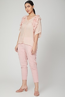 Blush Pink Embroidered Straight Pants by Chambray & Co.