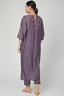Purple Embroidered Dress With Pants by Chambray & Co.