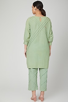 Mint Green Hand Embroidered Tunic With Pants by Chambray & Co.