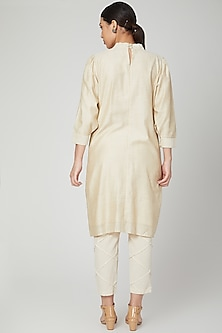 White Gathered Dress With Pants by Chambray & Co.