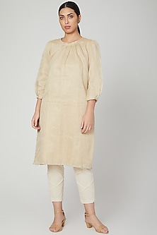 White High-Neck Dress With Pants by Chambray & Co.
