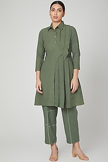 Olive Green Dress With Pants by Chambray & Co.