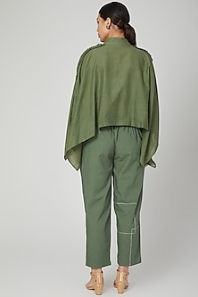 Olive Green Frilled Shirt With Pants by Chambray & Co.