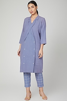 Sky Blue Shirt Dress With Pants by Chambray & Co.