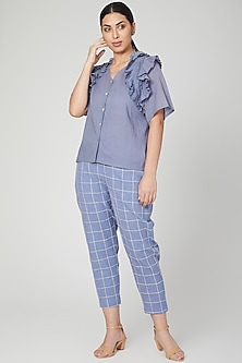 Sky Blue Embroidered Shirt With Pants by Chambray & Co.