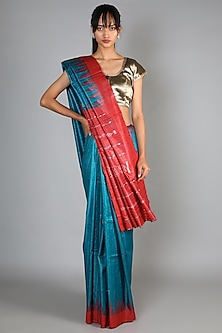 Royal Blue Tussar Handloom Saree Set With Red Palla by Chaturbhuj Das-Shop By Style