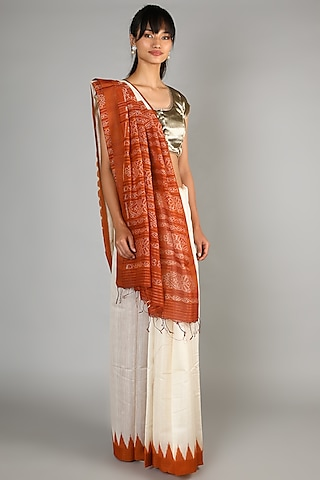 Natural Eri Silk Saree Set With Orange Palla by Chaturbhuj Das