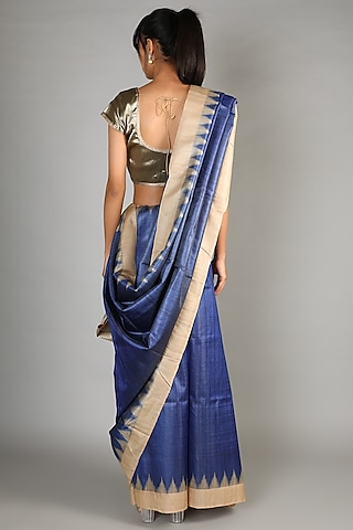 Navy Blue Tussar Handloom Saree Set With Weft Motif Palla by Chaturbhuj Das