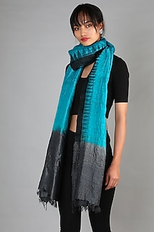 Turquoise & Black Tussar Ghicha Dupatta by Chaturbhuj Das-Shop By Style