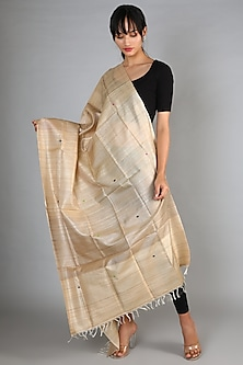 Natural Handspun Tussar Dupatta With Buti by Chaturbhuj Das
