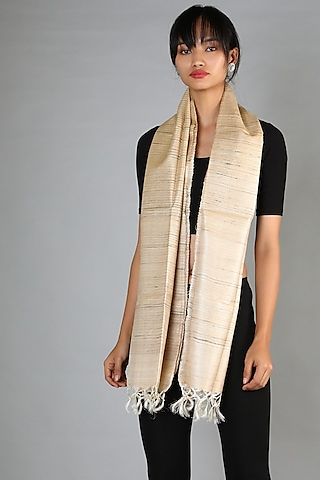 Natural Handspun Tussar Stole With Fringed End by Chaturbhuj Das