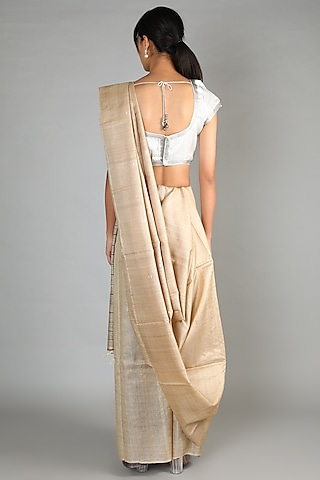 Natural Tussar Handloom Saree With A Striped Palla by Chaturbhuj Das
