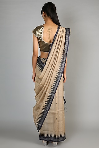 Natural Tussar Handloom Saree With Navy Blue Palla by Chaturbhuj Das