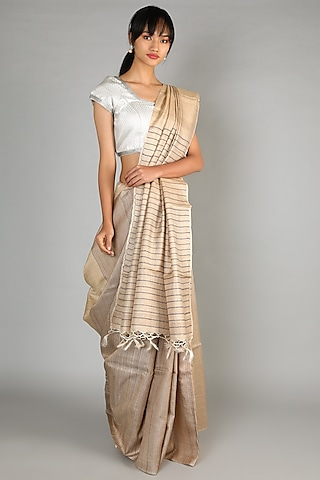 Natural Tussar Handloom Saree With Stripes by Chaturbhuj Das
