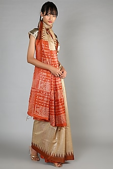 Natural Tussar Handloom Saree With Orange Palla by Chaturbhuj Das
