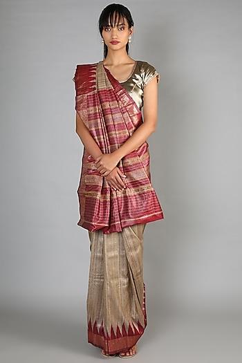Beige Tussar Handloom Saree With Maroon Palla by Chaturbhuj Das