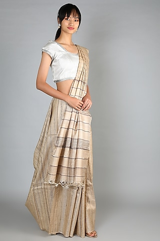 Natural Tussar Handloom Saree With Weft Motifs Palla by Chaturbhuj Das
