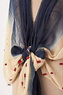 Navy Blue To Beige Ombre Dyed Scarf by Chambray & Co.