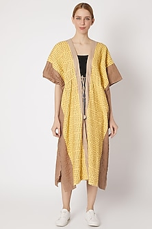 Yellow & Brown Embroidered Overlay Jacket by Chambray & Co.