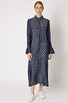 Denim Blue Embroidered Shirt Dress by Chambray & Co.