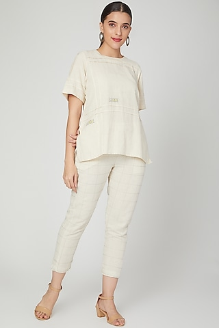 White Embroidered Top by Chambray & Co.