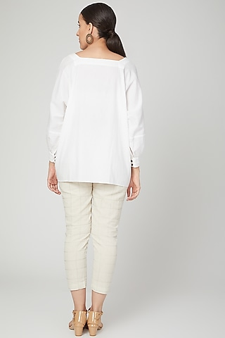 White Pleated Top by Chambray & Co.