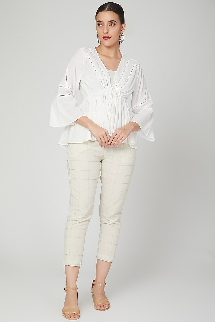 White Frilled Top With Tie-Up by Chambray & Co.
