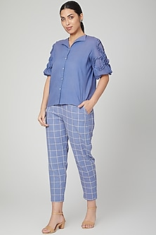 Mustard Statement Sleeves Shirt With Pants by Chambray & Co.