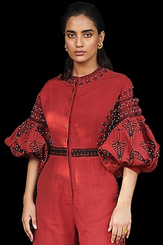 Red Embroidered Jumpsuit by Chandrima