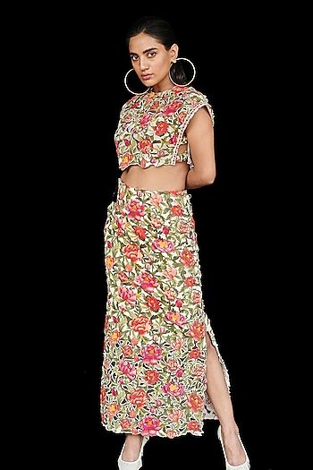 Multi Colored Printed Crop Top by Chandrima