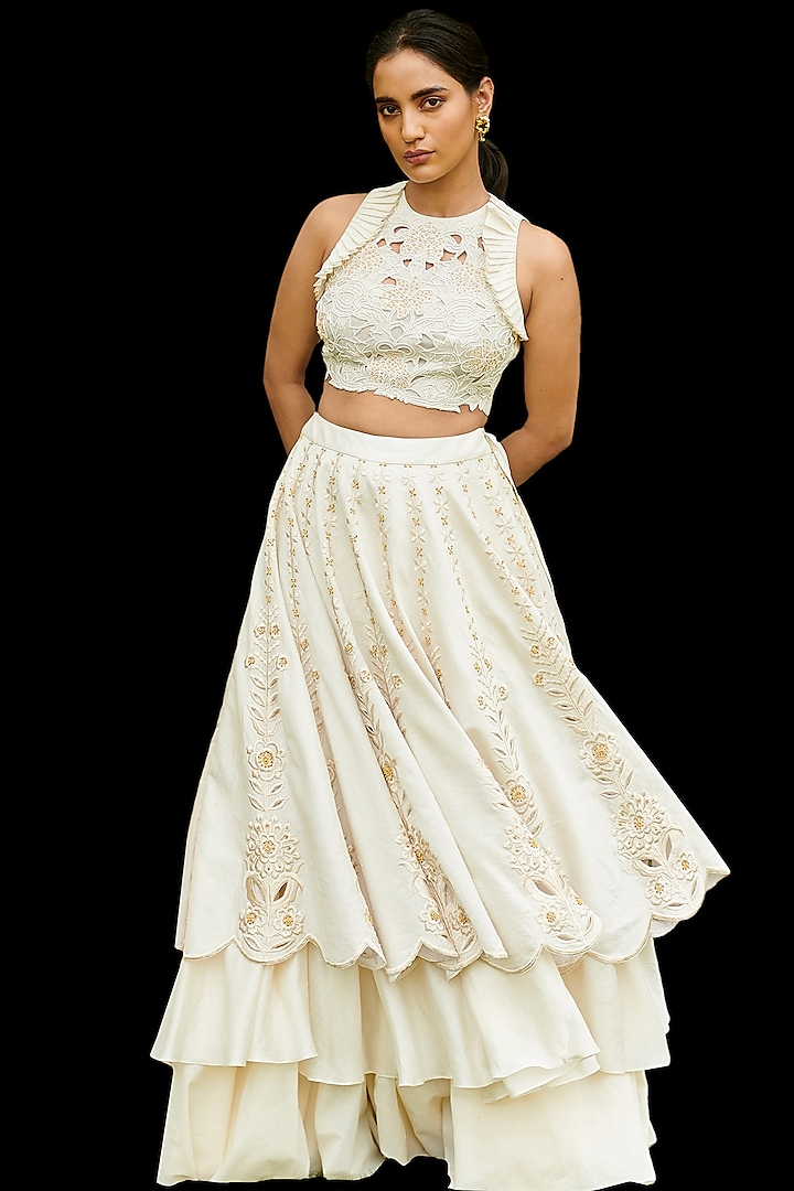 Ivory Embroidered Blouse by Chandrima