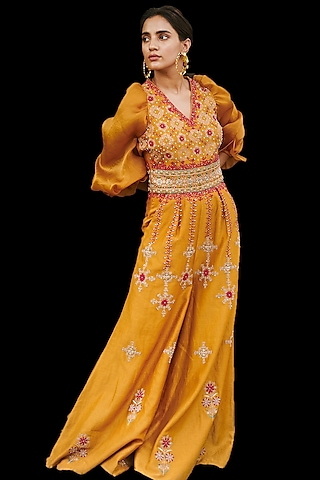Mustard Embroidered Jumpsuit by Chandrima