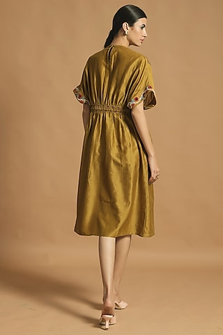 Yellow Gathered & Embroidered Dress by Chandrima