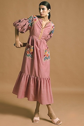 Blush Pink Embroidered Dress by Chandrima