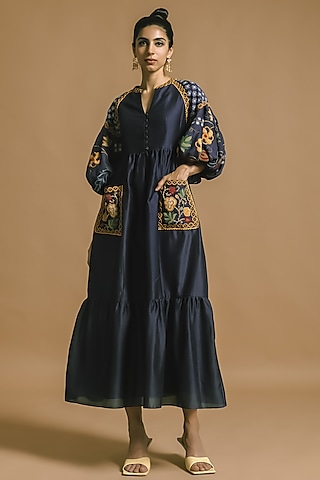 Cobalt Blue Embroidered Dress by Chandrima