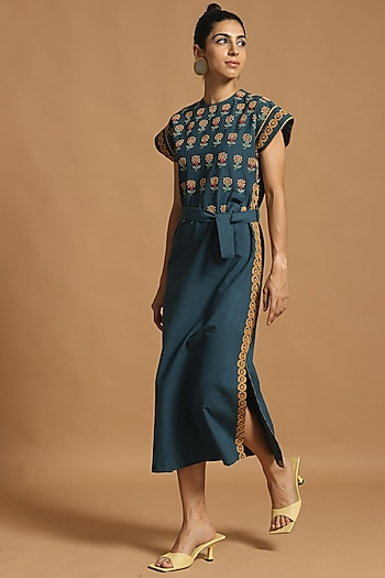 Cobalt Blue Embroidered Dress With Slits by Chandrima