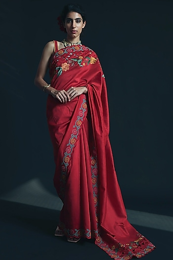 Red Thread Embroidered Saree by Chandrima